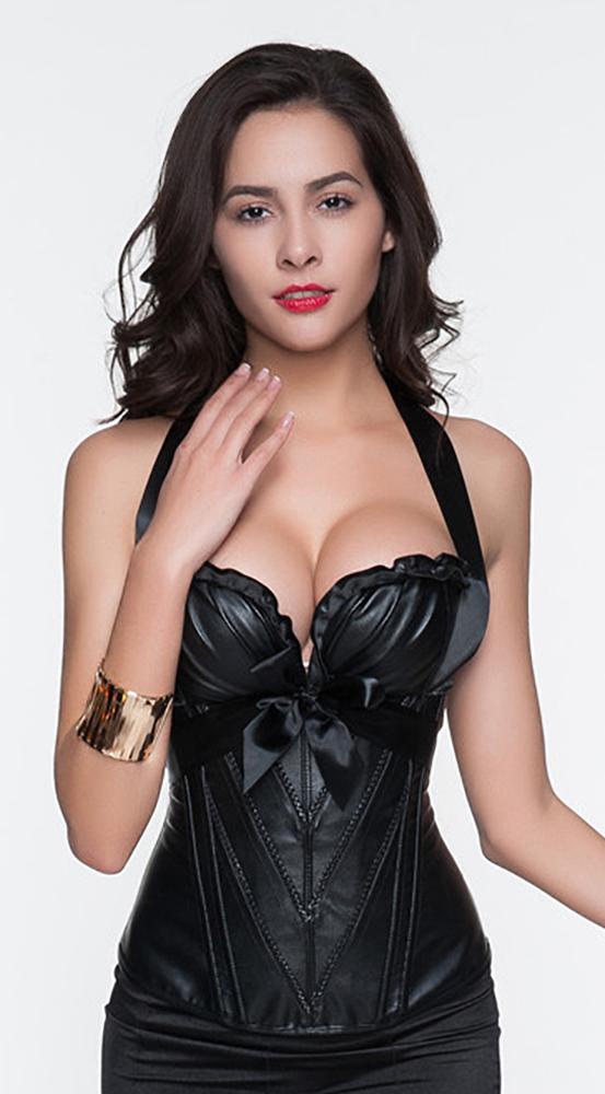 Neu Sexy Lack Corsage Korsett *gr L* 2a Schwarz